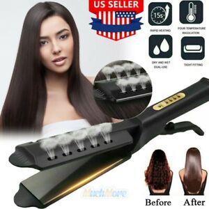 Professional Steam Hair Straightener Ceramic Tourmaline Ionic Flat Iron Glider