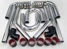 "3"" 76mm Turbo Intercooler Aluminum Pipe Silicone Hose Kit Black Red"