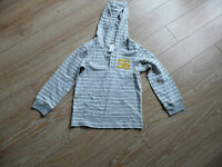 Boys Top with hood - Grey & White Striped 38-42 lb - NEW