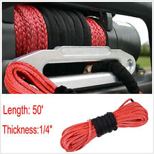 50' Synthetic Dyneema Winch Cable Red Rope Wire 6400 LBs Safe Car Offroad ATV