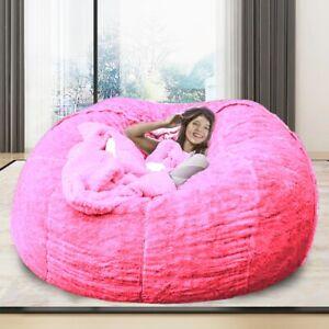 7ft Giant Fur Bean Bag Cover Big Round Soft Fluffy Faux Fur BeanBag Chair #03