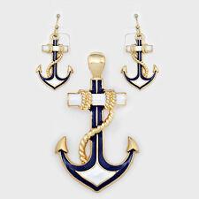 Anchor Pendant Earrings Beach Nautical Sealife GOLD BLUE WHITE Sailor Jewelry