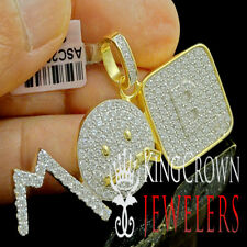 "10K Yellow Gold Over Real Silver ""MOB "" Charm Simu Diamond Custom Mens Pendant"