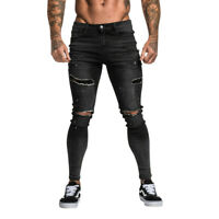 GINGTTO Men's Skinny Jeans Black Ripped Distressed Stretch Slim Fit Denim Pants