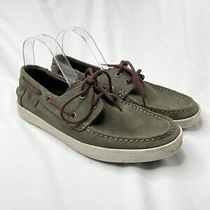 Lacoste Khaki Green Boat Shoes Size 9 US 42 EUR Suede Leather Lace Up