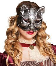 Steampunk Katzen Halbmaske NEU - Karneval Fasching Maske Gesicht