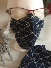 Mund-Nasenschutz für Brillenträger Gr.L Alltagsmaske navy/weiß