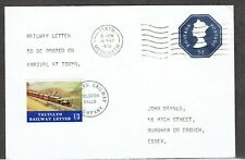 Talyllyn Railway letter stamp cover 1970 with 1/3 stamp to Essex