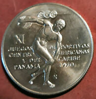 Panama 5 Balboas 1970 XI juegos olimpicos  plata @@ SIN CIRCULAR @@