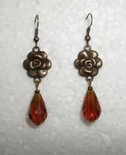 Glass Yellow Gold Plated Drop/Dangle Costume Earrings