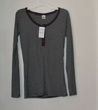 NWT Empyre Women's Helle Long Sleeved Henley, Size Small, Striped, Stretchy