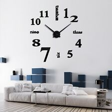Modern 3D Mirror Sticker Wall Large Clock Home Room Decor Removable Art DIY