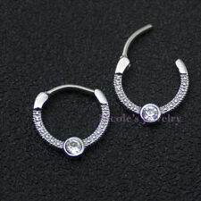 16g Surgical Steel Bar Hinged Septum Clicker Daith CZ Nose Ring Piercing CE77