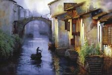 1000 Piece Adult Puzzle Small Asian Town River Boat Jigsaw Educational Toys Gift