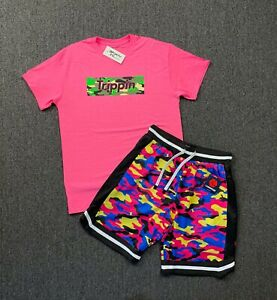 NEW 2-Piece Men's Casual/Active Trippin Pop T-Shirt+Track Shorts Sets 3 Colors
