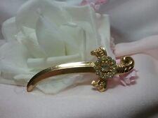 Vintage Gold Coro Rhinestone Sword Dagger Knife Saber Brooch Pin