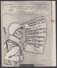 F-EX8775 US WWII V MAIL SOLDIER MERRY CHRISTMAS PICTORIAL ILLUSTRATED 1943.