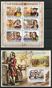Comoros 2008 MNH Navigators Columbus Vespucci Marco Polo 6v M/S 1v S/S Stamps
