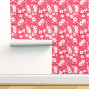 Peel-and-Stick Removable Wallpaper Pink Orange Floral Modern Dark Acrylic