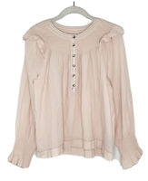 La Vie Rebecca Taylor Womens Smocked Poplin Top Light Pink Size Medium K2