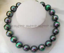 AA+ Beautiful 12mm Rainbow Black Round South Sea Shell Pearl Necklace 18""