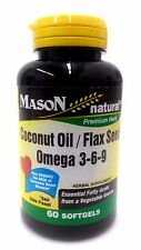 Mason Natural Coconut Oil Flax Seed Omega 3-6-9  Softgels 60 Count
