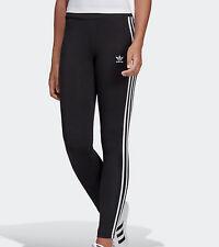 ed1c3abb26027 Adidas Originals 3 stripes leggings Womens black pink UK 10,12,14,16