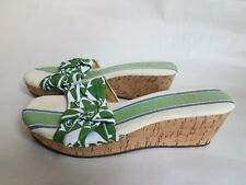 SPERRY Top-Sider Women's Cork Wedge Sandal Green Nautical Anchor Size 8.5 M