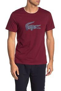 Lacoste Sleepwear Men's Cabernet Red Crew-Neck Short Sleeve T-Shirt