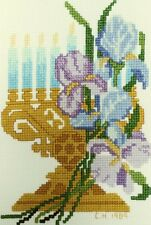 Floral Menorah Embroidery Finished Hanukkah Cross Stitch Multi Color Wall Decor