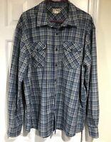 LL Bean Men's XL Long Sleeve Button Front Plaid Shirt 100% Polyester Blue Gray