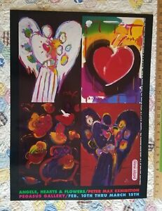 Peter Max Angels, Hearts & Flowers Pegasus Gallery exhibition poster