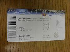 21/10/2008 ticket Steaua Bucure? ti V Lyon (lourdement froissées & usés, plié). Th