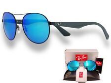 Ray Ban Small Aviator Unisex Sunglasses MATTE BLACK_GREY_BLUE MIRROR 3536 006/55