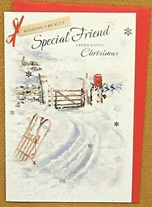 Special Friend Christmas Card, Colour design Inside. Traditional Snow Scene