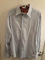 Robert Graham Mens Button Up L/S Dress Shirt Flip Cuffs Blue/White Striped 2XL