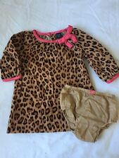 Baby Gap Leopard Print Corduroy Dress with Pink Trim &  Bloomers 12-18 Months