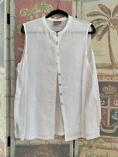 Eileen Fisher Linen Sleeveless Mandarin Collar Buttoned Blouse 1X PreOwned