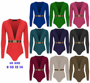 New Womens Plunge V Neck Bodysuit Gold Belted Ladies Leotard Bodycon Top