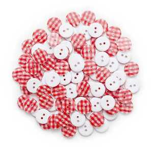 50pcs Red Grid Resin Buttons for Sewing Scrapbooking Crafts Home Decor 13mm