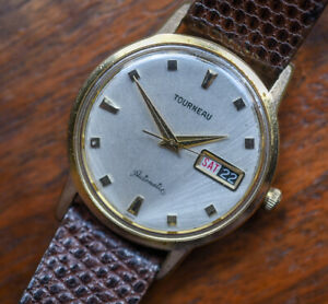 Vintage TOURNEAU Automatic Day Date Gold Plated Men's Watch Lizard Band