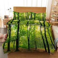 Green Forest Land 3D Printing Duvet Quilt Doona Covers Pillow Case Bedding Sets