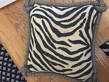 pillow tan black plaid zebra print knots