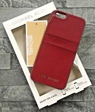MICHAEL KORS CHERRY RED LEATHER IPHONE 6 6s 7 SNAP ON CASE WITH CARD SLOTS BNIB