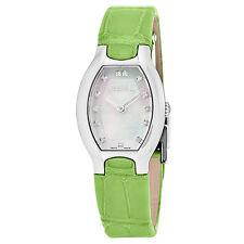 EBEL Women's Beluga Tonneau MOP Diamond Dial Leather Strap Quartz Watch 1216206