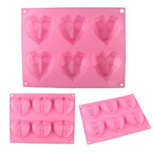 3D Love Heart Shaped Silicone Bakeware Mould DIY Chocolate Ice Jelly Baking M...