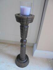 Vintage French Breton floor standing oversized wooden candlestick, reversible