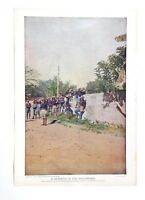 A Skirmish in the Philippines Antique 1899 Large 11x15 Bookplate Print