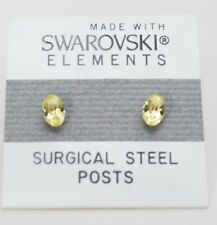 Yellow Oval Stud Earrings 6mm Small Light Crystal Made with Swarovski Elements