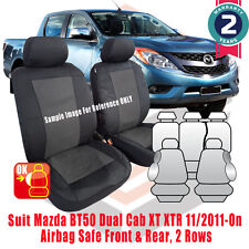 Mazda BT-50 BT50 Dual Cab Custom Fit Seat Covers GT XT XTR 2011-2015 Airbag